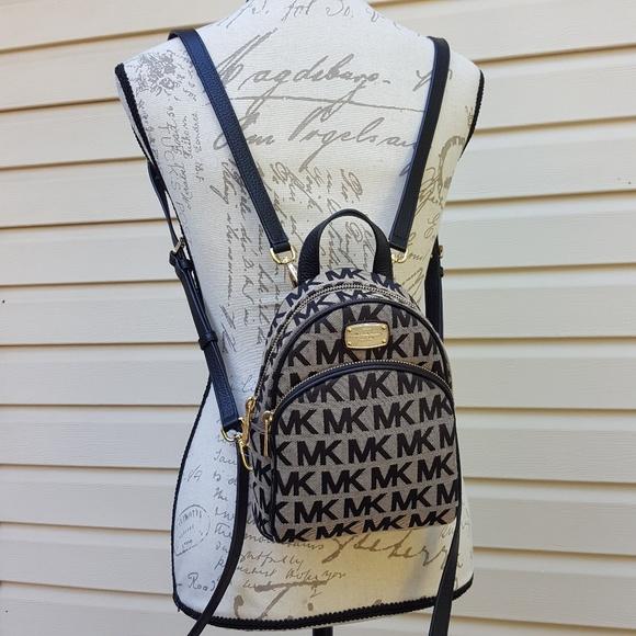 77dc2babfaf7 Michael Kors Bags | Nwt Xs Abbey Backpack Beige Black Mk | Poshmark